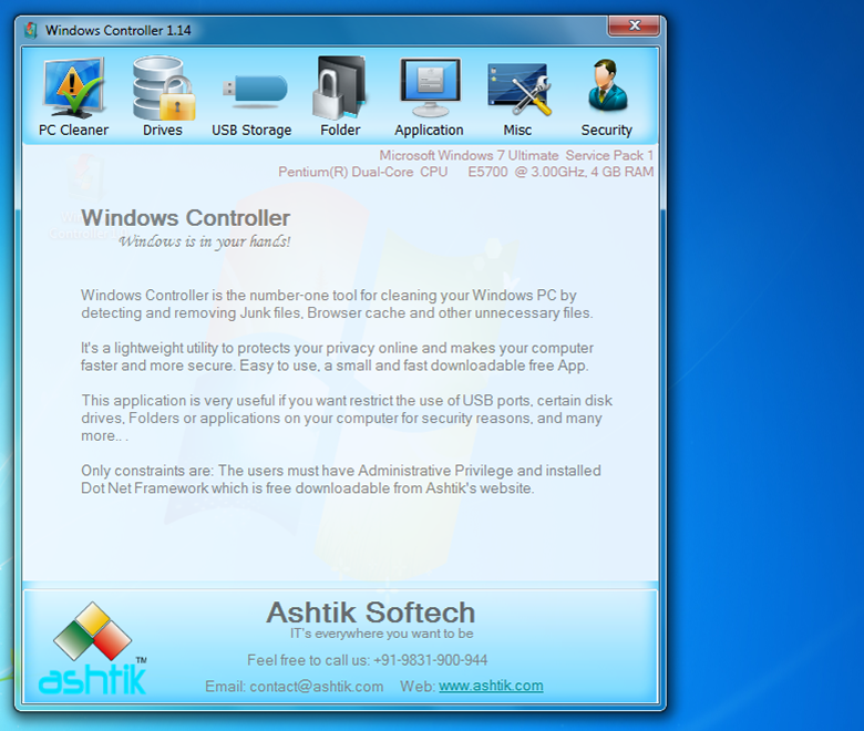Windows Controller | Ashtik